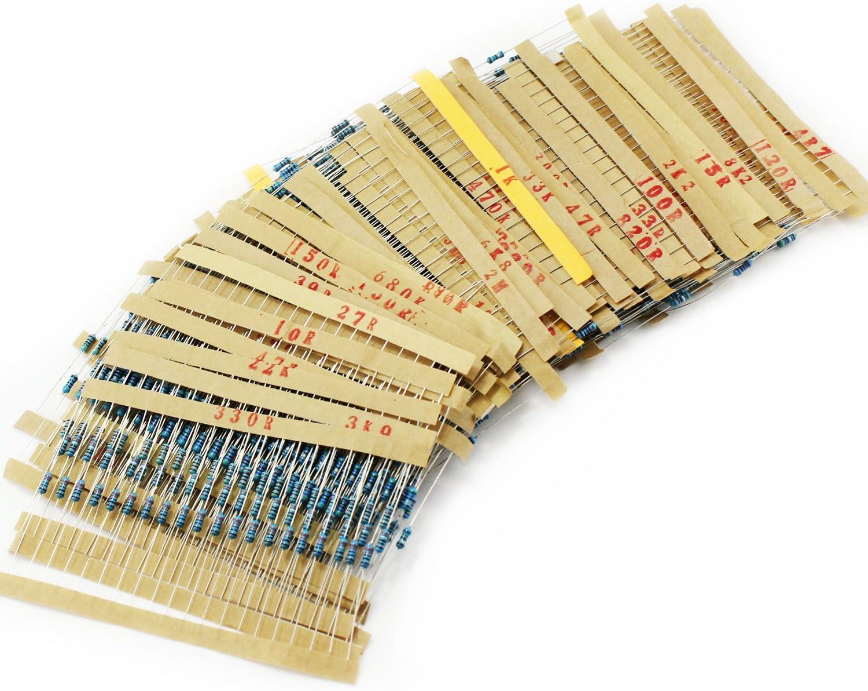 EDGELEC 100pcs 4.7M ohm Resistor 1//4w 0.25 Watt /±1/% Tolerance Metal Film Fixed Resistor