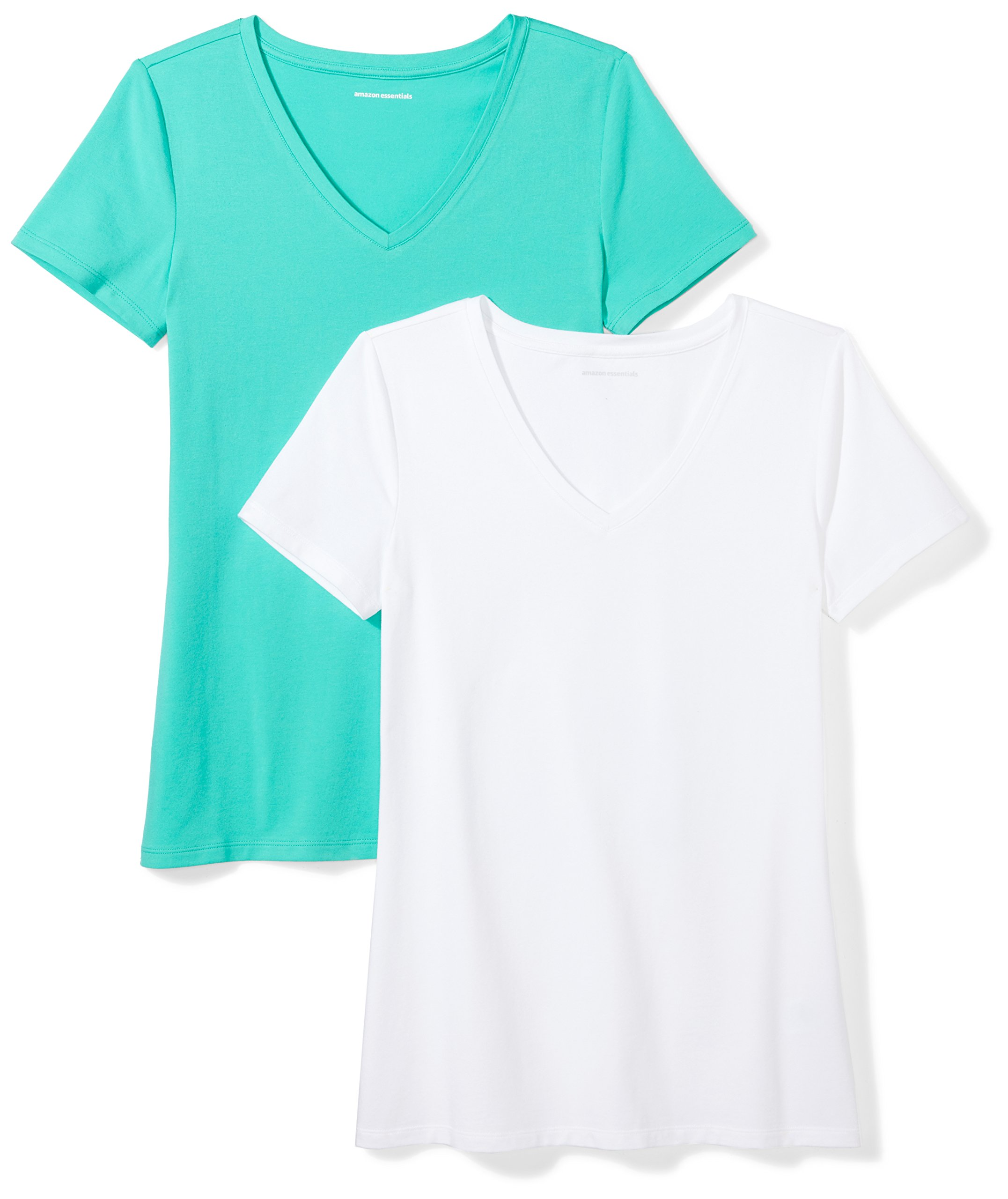 Amazon Essentials Women's 2-Pack Short-Sleeve V-Neck Solid T-Shirt, Mint Green/White, Small