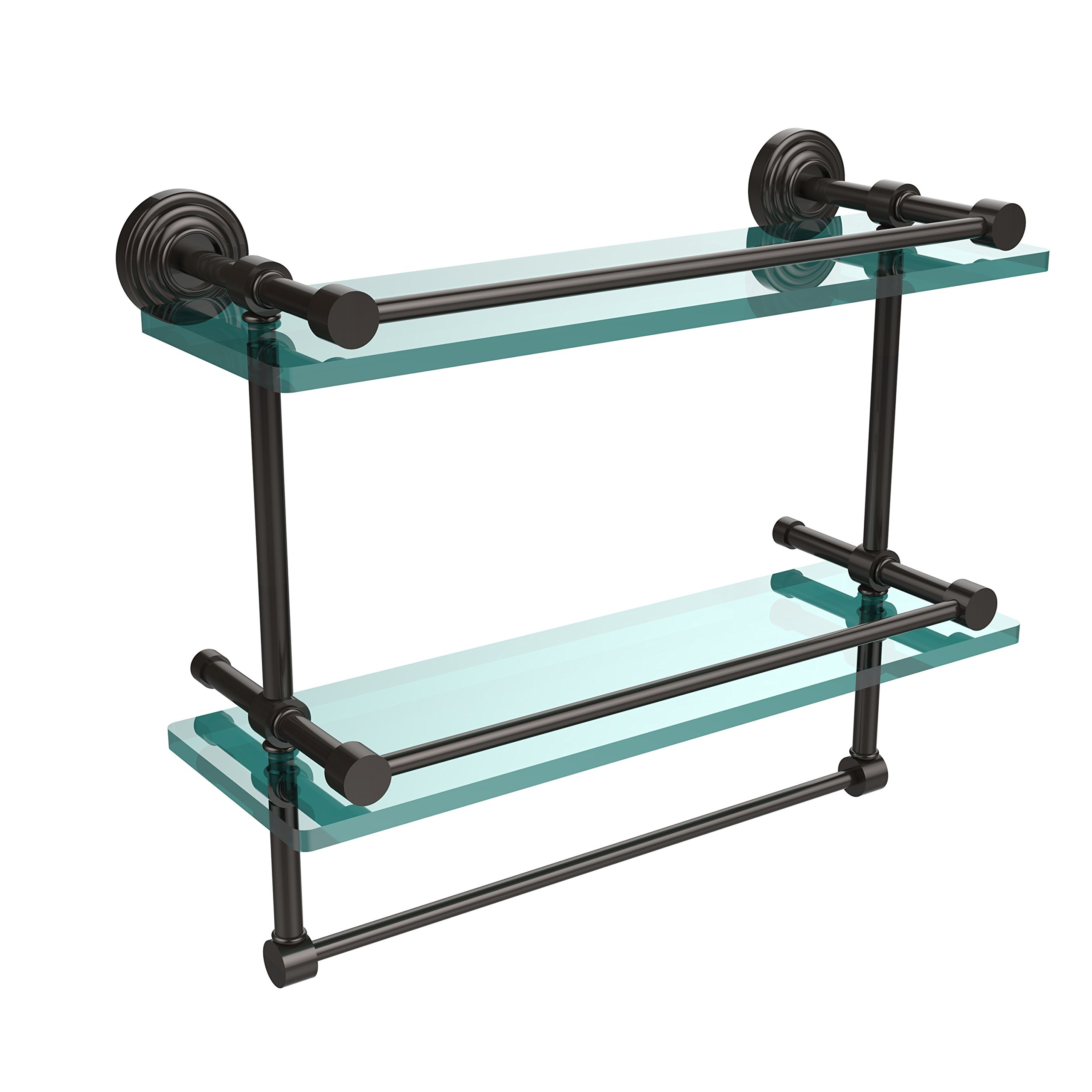 Allied Brass WP-2TB/16-GAL-ORB 16-Inch Gallery Double Glass Shelf with Towel Bar, Oil Rubbed Bronze