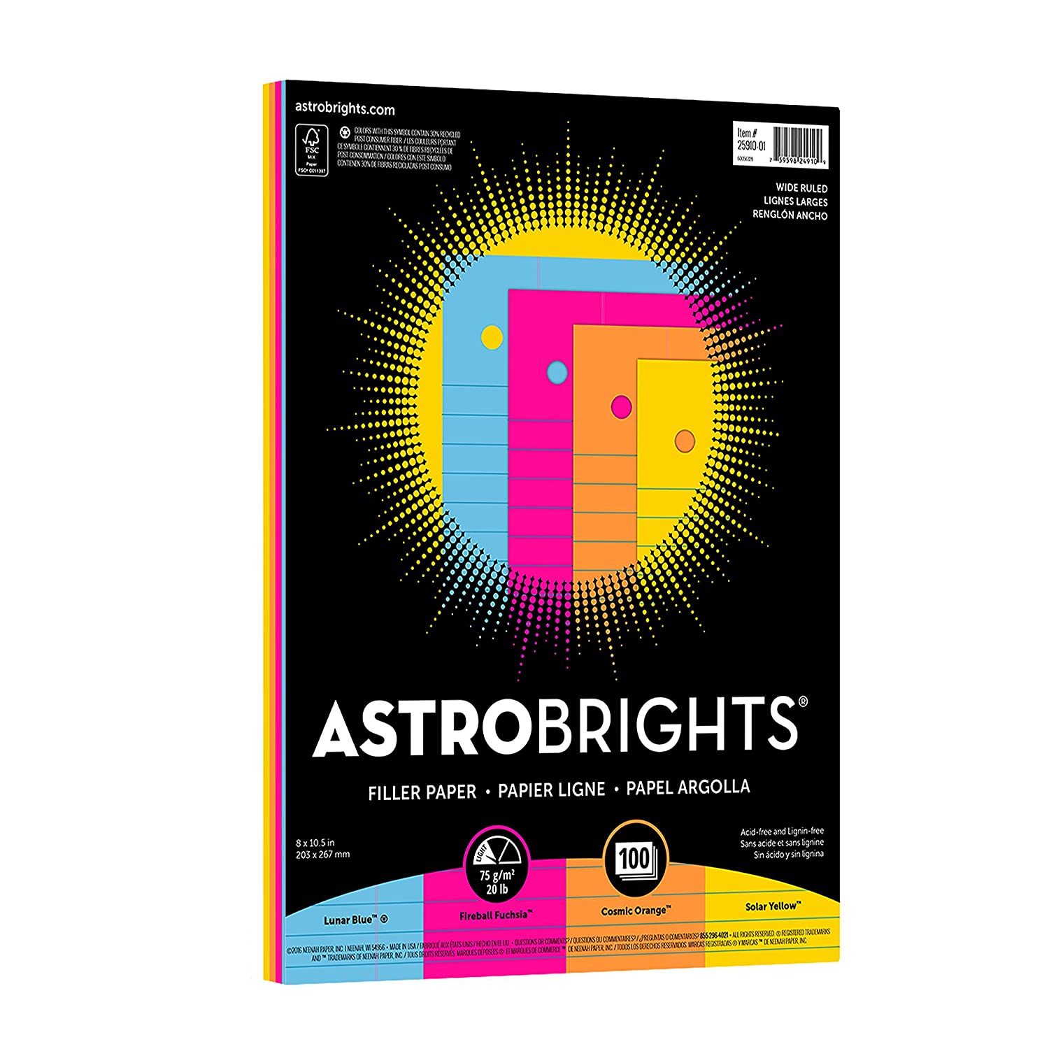 Wausau Astrobrights Wide Ruled Filler Paper Assortment, 100 Count, 8 X 10.5 Inches (25910)