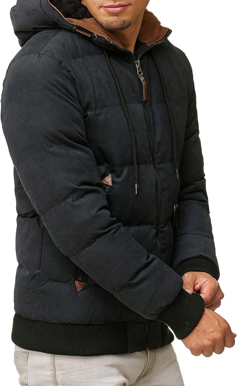 Indicode Homme Adeline Veste D'Hiver avec Capuche Doublée (Fourrure Teddy) | Chaude Veste Matelassée en 100% Cotton Résistante Veste Outdoor Hiver Veste pour Homme Noir