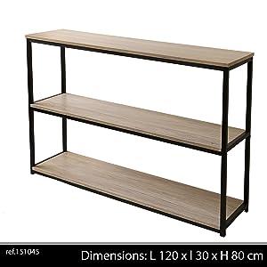 Console 3 étagères, Collection Loft, Bois, 120x30x60 cm