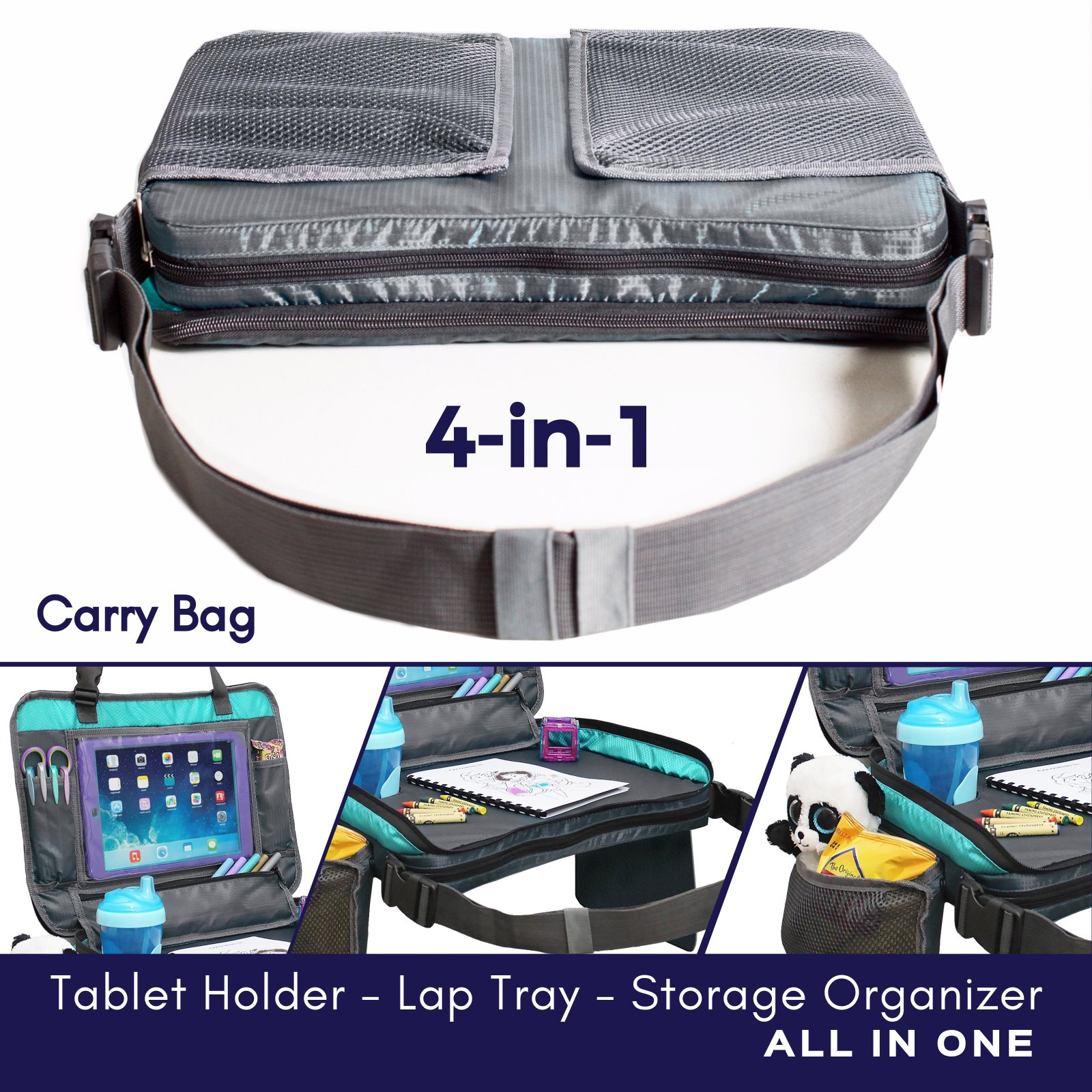 ORGANIZED EMPIRE's Detachable 4 in 1 Car Seat Travel Tray, Storage Organizer, Carry Bag & Tablet Holder for kids all in one. Most stable back seat Snack Tray on the market, no balancing required by Organized Empire (Image #2)