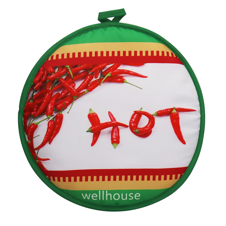 Wellhouse - Calentador de tortillas de 12 pulgadas aislado para microondas, bolsa de tela para mantener el calor hasta 1 hora Green Hot-1