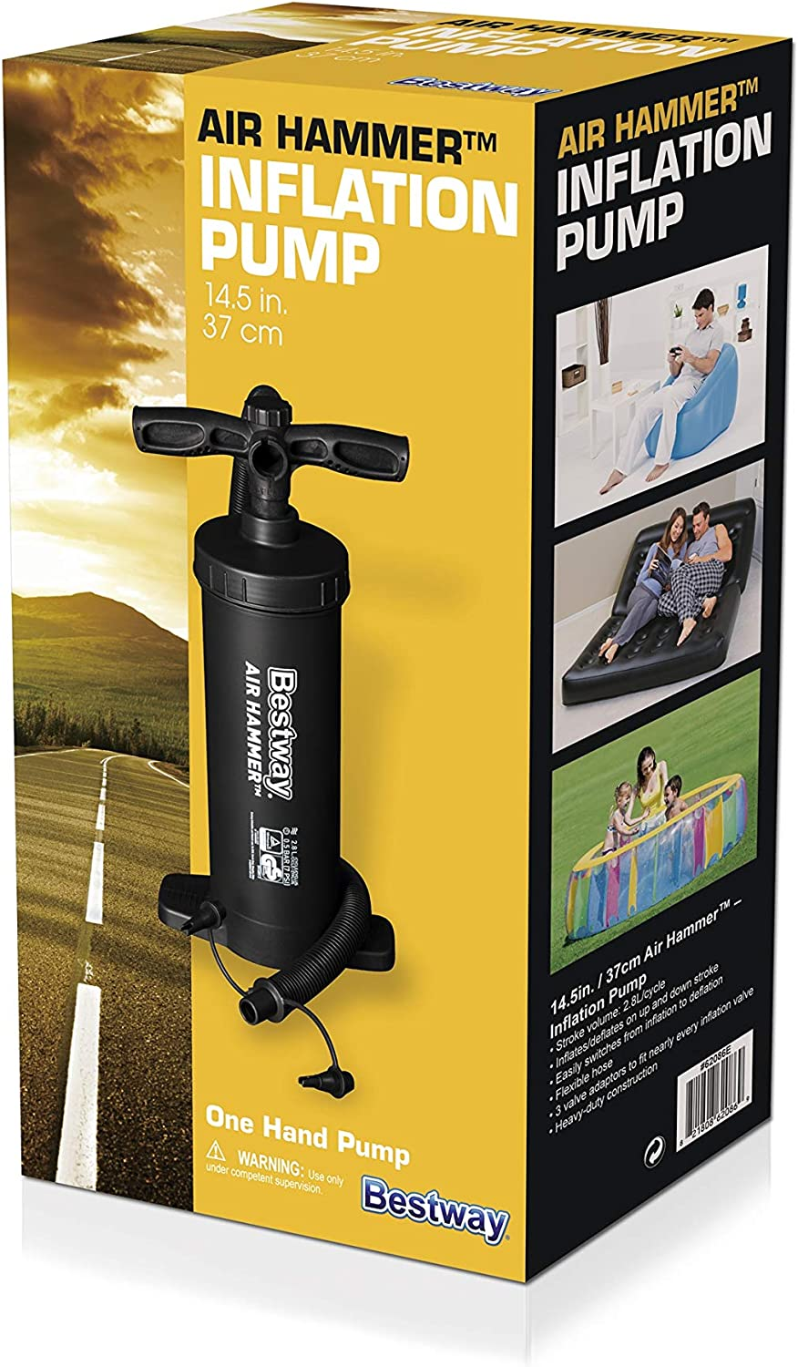 BESTWAY 12 INCH HAMMER INFLATION HAND AIR PUMP FOR AIR BED CAMPING BEACH TOYS