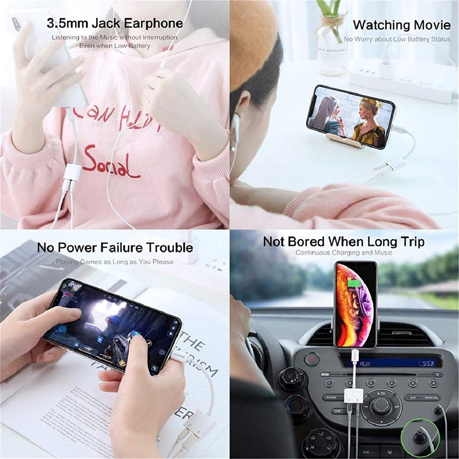 Headphone Adapter for iPhone 11 Adapter to 3.5mm Jack Aux Audio Adapter Compatible with iPhone 7//7P//8//8P//X//XR//XS 2 in 1 Function Earphone Adapter Headset Cable Convertor Support All iOS