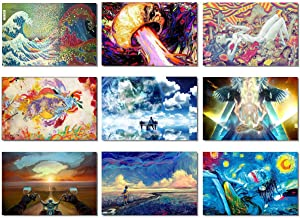 SmartWallStation 9X Fabric Poster Psychedelic Trippy Colorful Trippy Surreal Abstract Astral Digital Wall Art Prints 20x13 (50x33cm) (10-18)