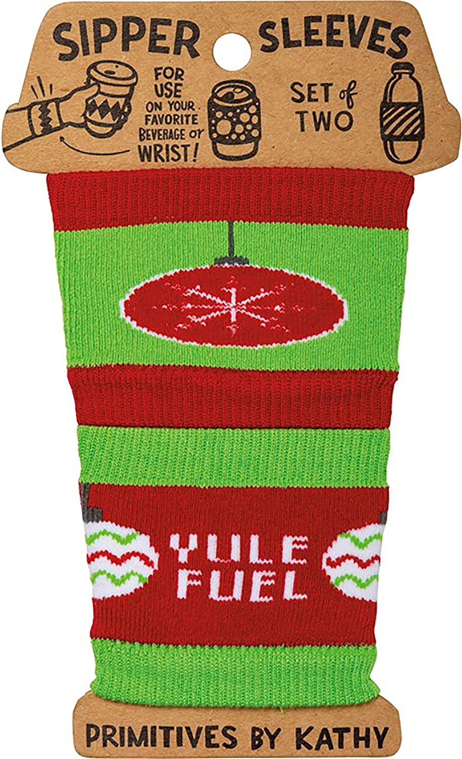 Primitives by Kathy Yule Fuel Slipper Drink Sleeves, Set of 2 Christmas Reusable Knit Sleeves for Coffee Tea Hot Cold Drinks Beverages & Water Bottles