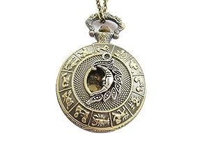 Antique Silver moon Bronze Pocket Watch Necklace,moon pocket watch pendant
