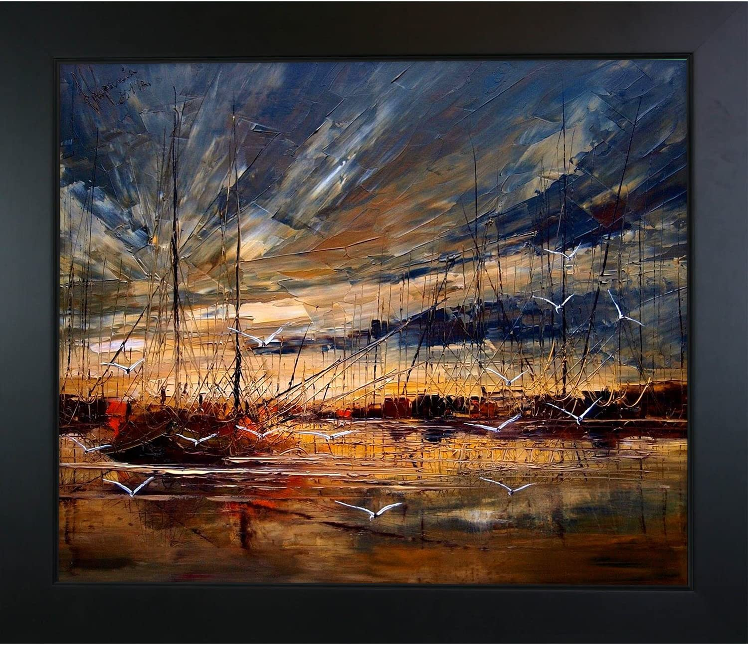 overstockArt Harbour Deluxe with New Age Print Black Courier shipping free shipping 28. Framed Canvas