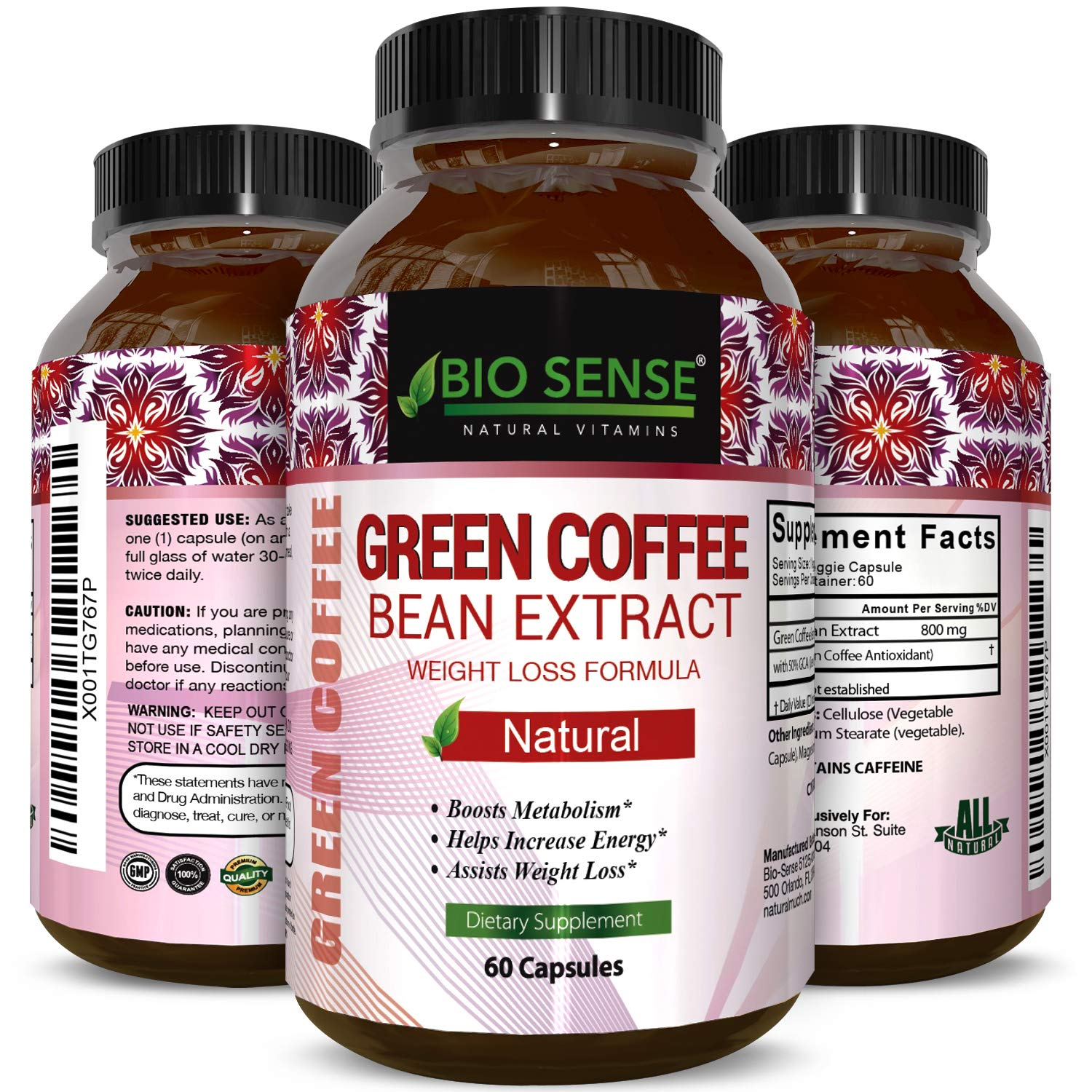 Pure Green Coffee Bean Extract and Standardized to 50 Chlorogenic Acid with Weight Loss Supplement for Men and Women, Burns Both Fat and Sugar with High Grade Natural Ingredients