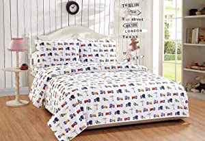 Elegant Home Multicolors Construction Equipment Trucks Cement Mixers Backhoes Design 4 Piece Printed Sheet Set with Pillowcases Flat Fitted Sheet for Boys/Kids/Teens (Construction Blue, Full Size)