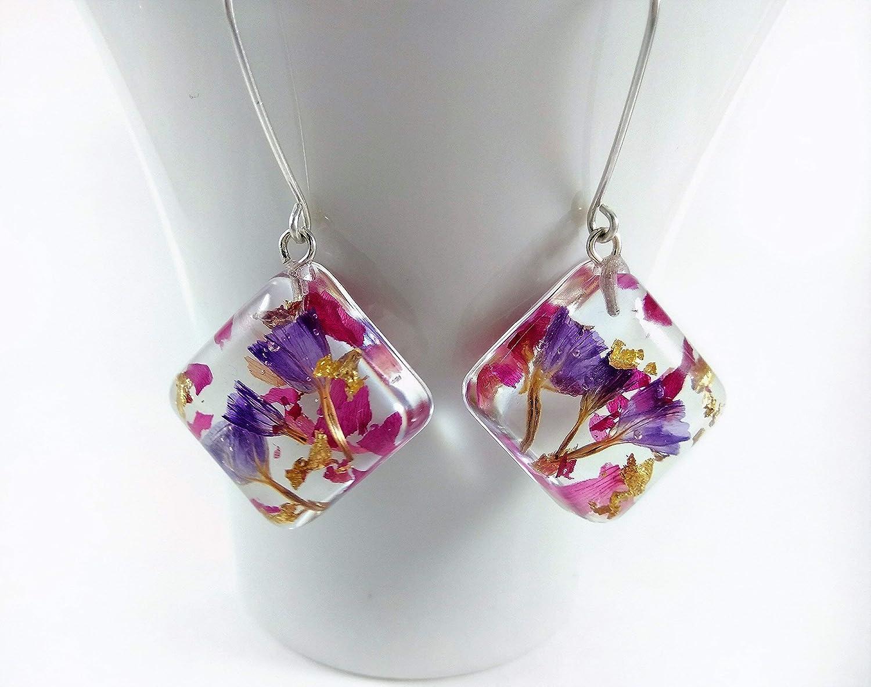 Botanical jewelry resin globe Nature Jewelry Pink and Purple real hydrangea flower pendant Terrarium Necklace