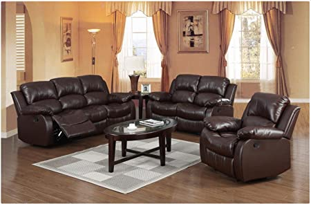 Premium Top Quality Leather Reclining Family Sofa Love Seat Settee Armchair Luxury Lounge Couche Sets Express Home Delivery Brown 1 Seater