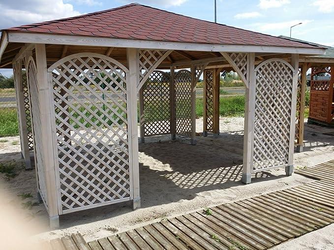 Cenador de madera para jardín, grande y espacioso, de 4 x 4 m (diámetro exterior de 4,5 x 4,5 m): Amazon.es: Hogar