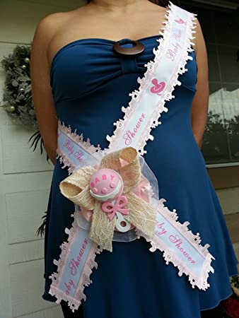 Baby Shower Mom To Be Itu0027s A Girl Sash Pink With Rattle, Ribbon And Corsage