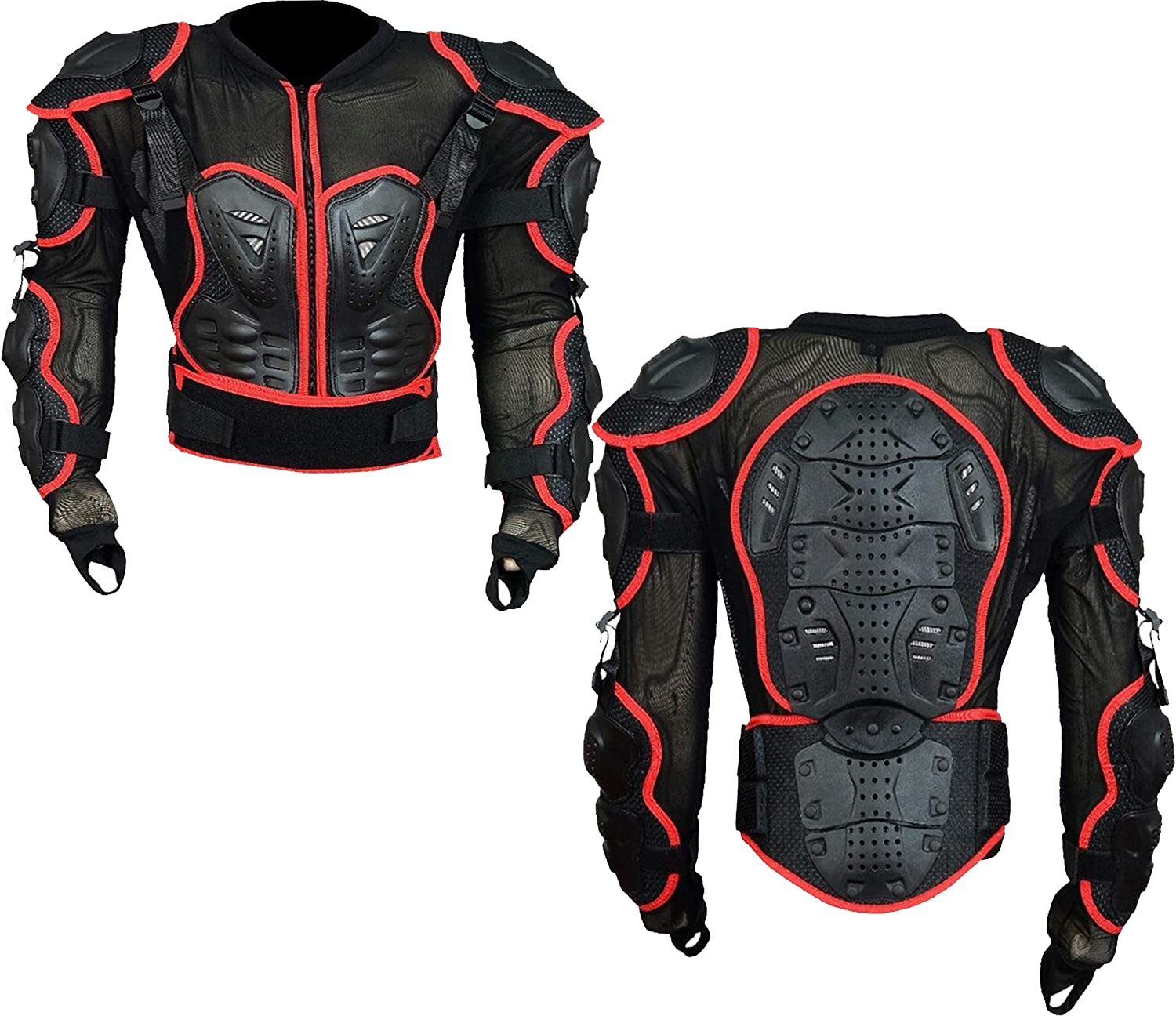 Black L Mens Body Armours Motorcycle CE Approved Motorbike Chest Shoulder Back Guard Protector Armors Spine Protection Jacket