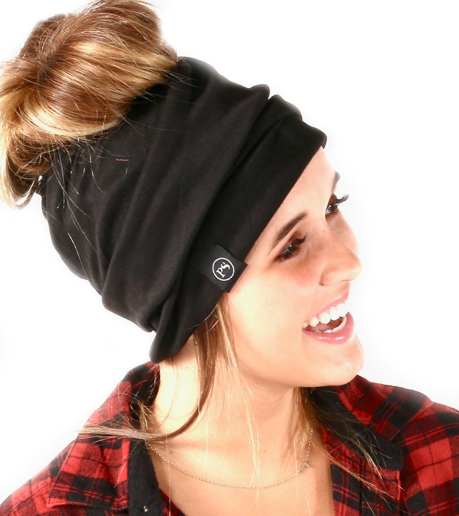 Peek a Boo Women's Beanie Slouchy Beanie with Hole for Pony Tail or Sloppy Bun perfect for Work Out by Pretty Simple (Black)