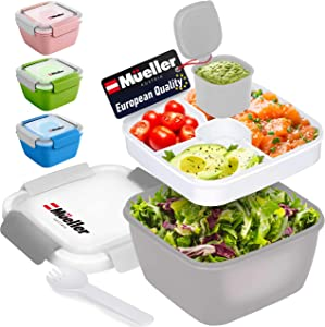 Mueller Salad Lunch Container To Go, Large 51-oz Salad Bowl, 3 Part Divided Tray, with Dressing Container and Reusable Spork Smart Locking Leakproof Salad Holder, (Grey)