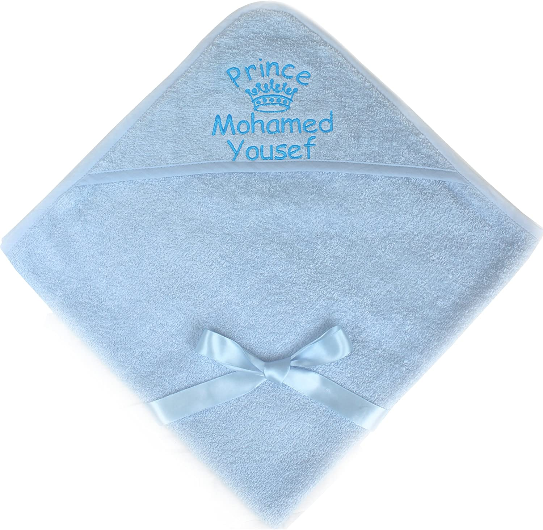 TeddyTs Baby Boys /& Girls Super Soft Personalised Prince /& Princess Bathrobe Towel Blue