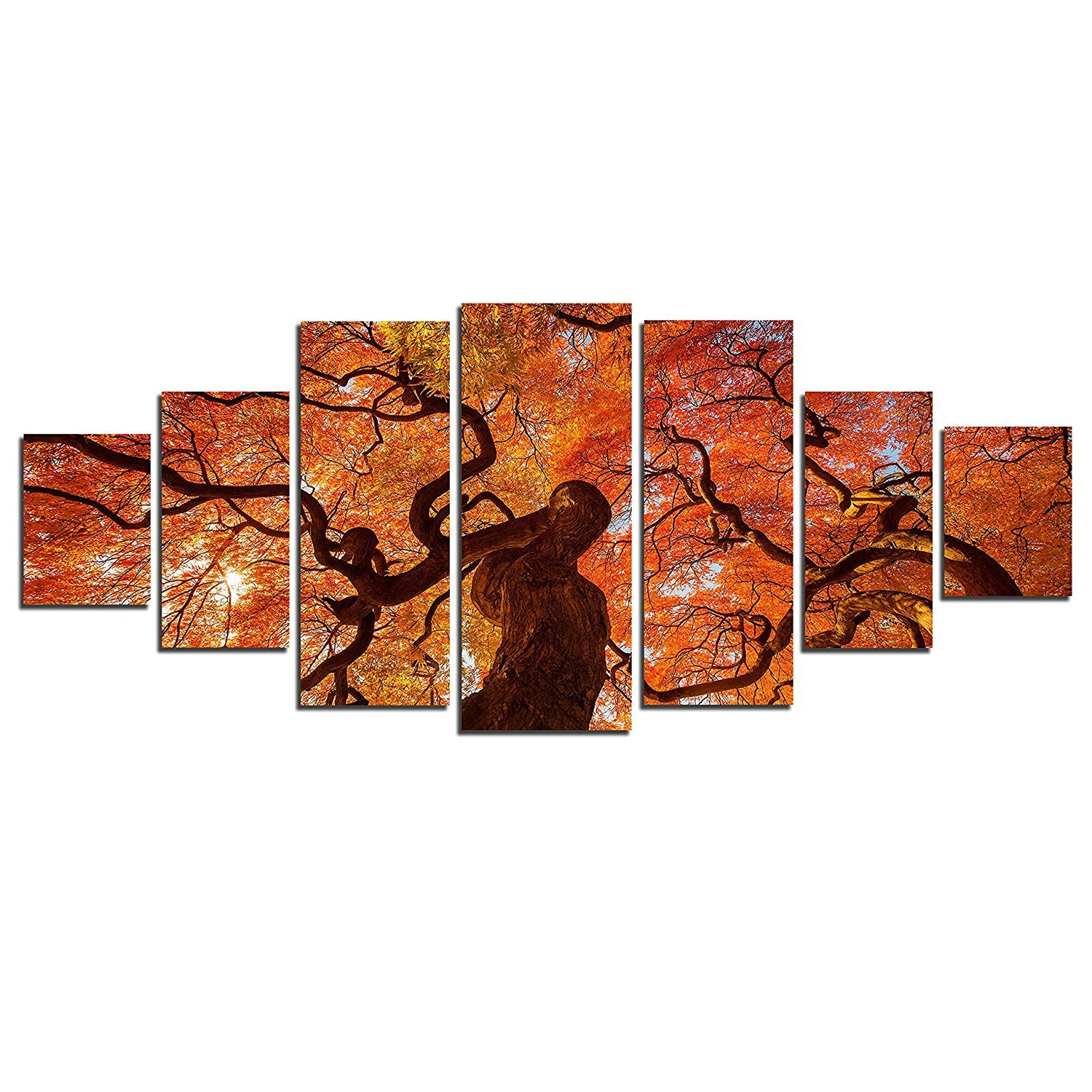 Startonight Glow in the Dark, Huge Canvas Wall Art Maple In Autumn, Home Decor, Dual View Surprise Artwork Modern Framed Wall Art Set of 7 Panels Total 39.37 x 94.49 inch by Startonight