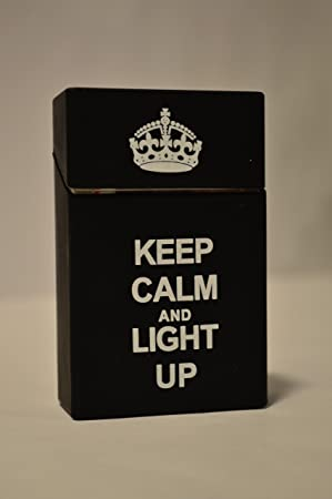 AshPro Silicone 20 Cigarette Pack Cover - Keep Calm and Light Up Black