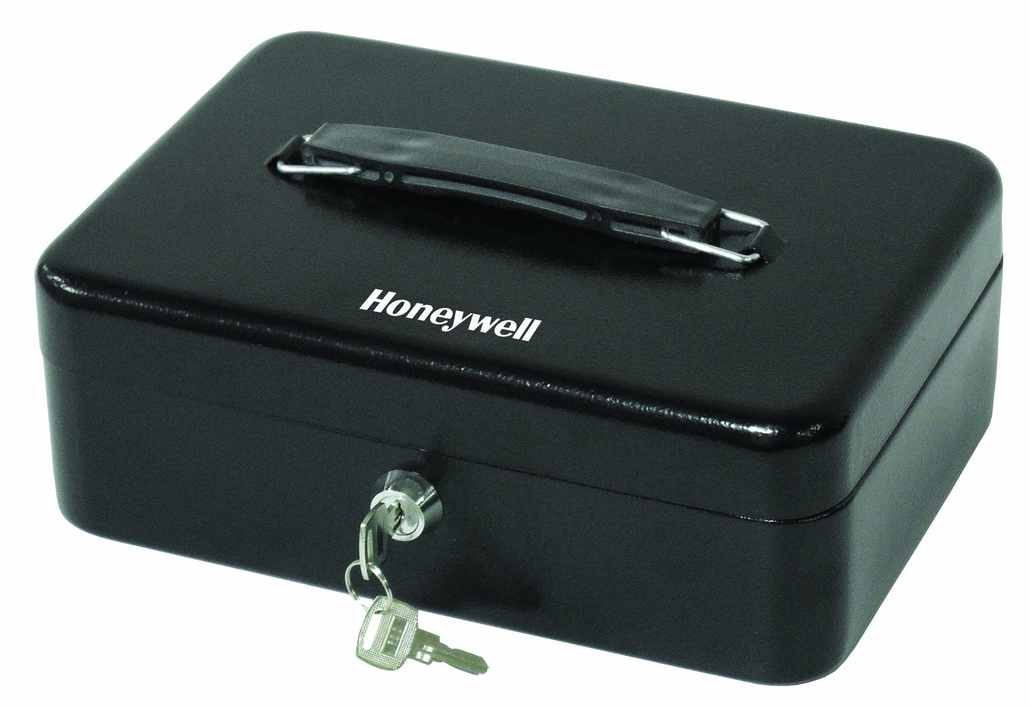 HONEYWELL - 6112 Standard Steel Cash Box with Key Lock, Black