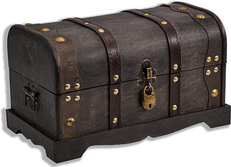Brynnberg - Caja de Madera Cofre del Tesoro Pirata de Estilo Vintage, Hecha a Mano, Diseño Retro 31x18x18cm