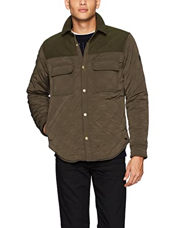 Scotch & Soda Men's Quilted Shirt Jacket in Mix and Match Wool/Nylon Quality ,