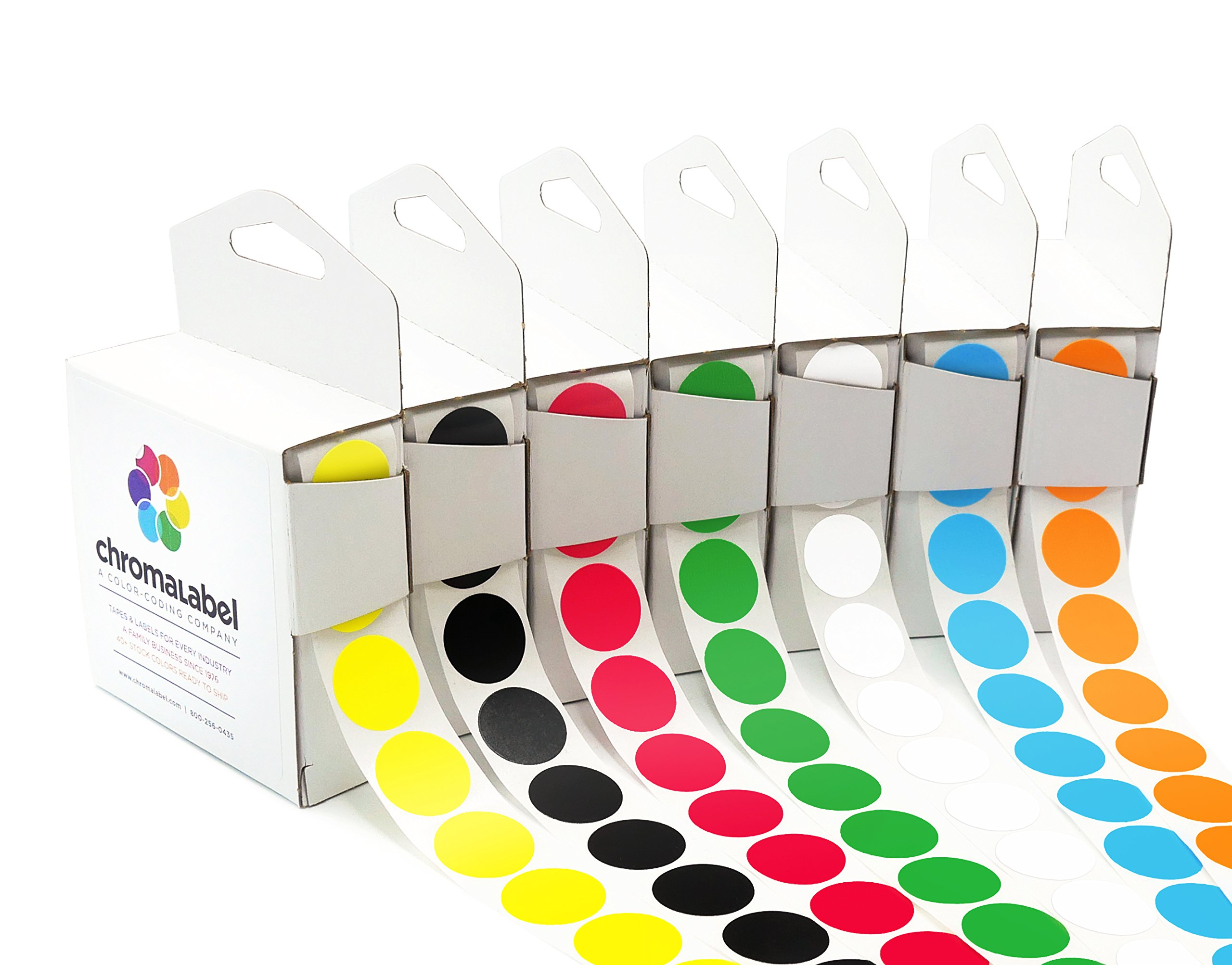 ChromaLabel Standard Color-Code Dot Label Kit | 7 Assorted Colors | 1,000/Dispenser Box (3/4 inch) by ChromaLabel