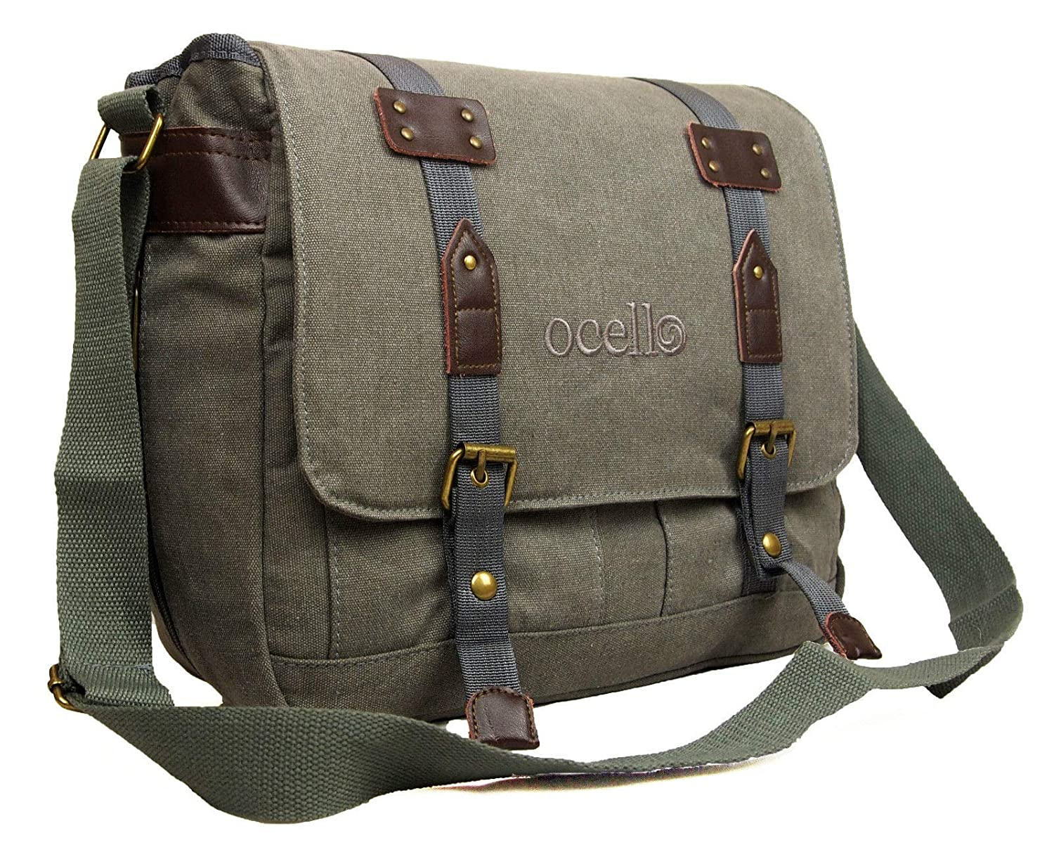 50cd71e258 Ocello Canvas School Work College Satchel Fits A4 Dispatch Messenger Bag  (Brown)  Amazon.co.uk  Shoes   Bags