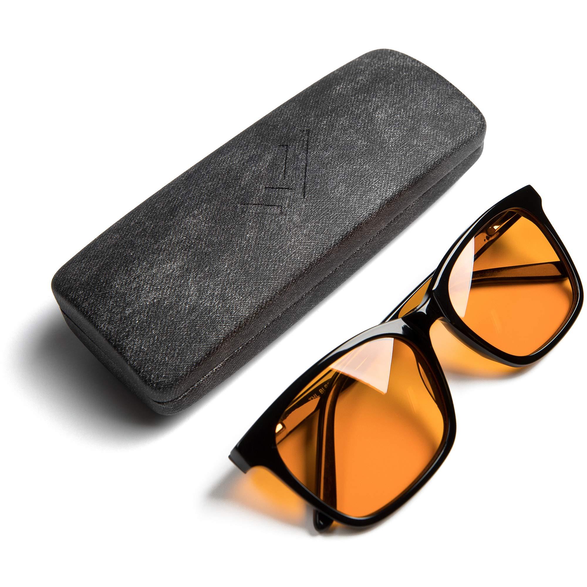 Blue Light Blocking Glasses - Large - Computer and Gaming Eyeglasses for Better Night Sleep - Filter Artificial Blue Screen Light - Anti Eye Strain - Orange Amber Lenses - by THL Sleep