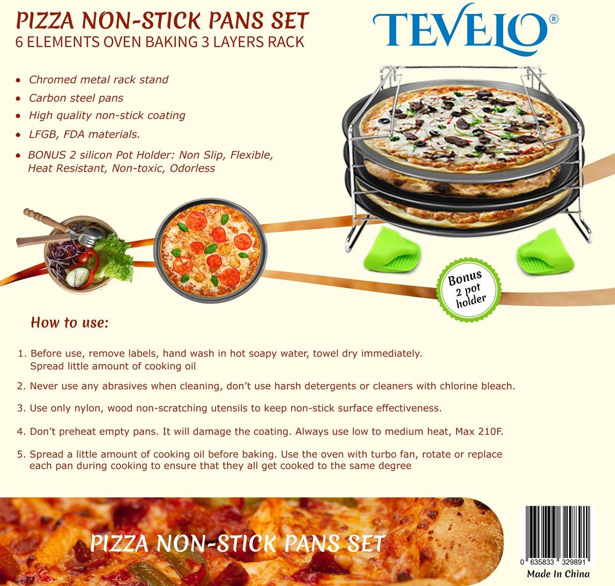 4 piezas Pizza en bandejas de pan de horno antiadherente sartenes - calor/recalentar 3 pizzas en una vez que se come out crujientes y sabrosos. ...