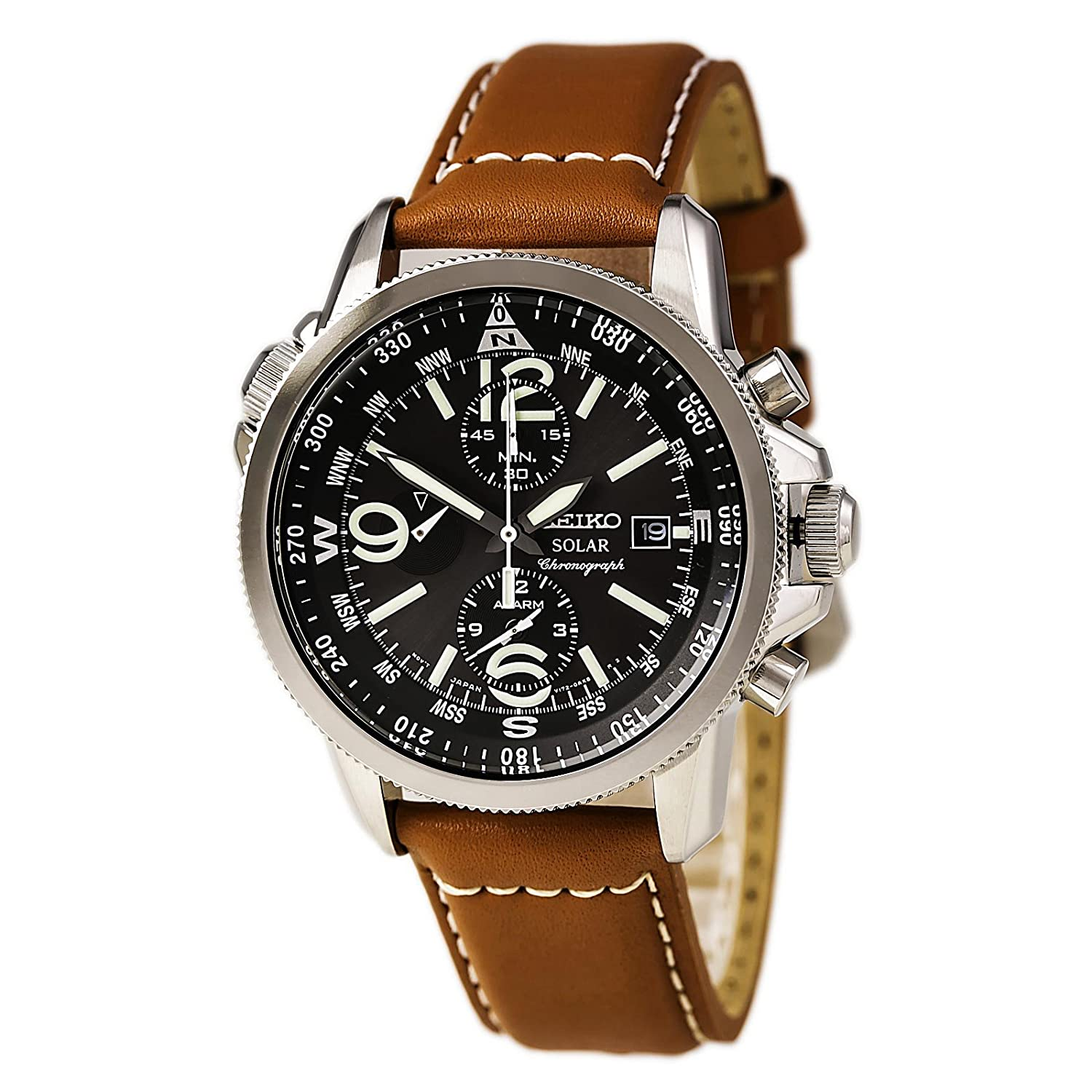 lyst color men normal mens alarm solar chronograph black watch no watches s strap seiko leather product accessories gallery