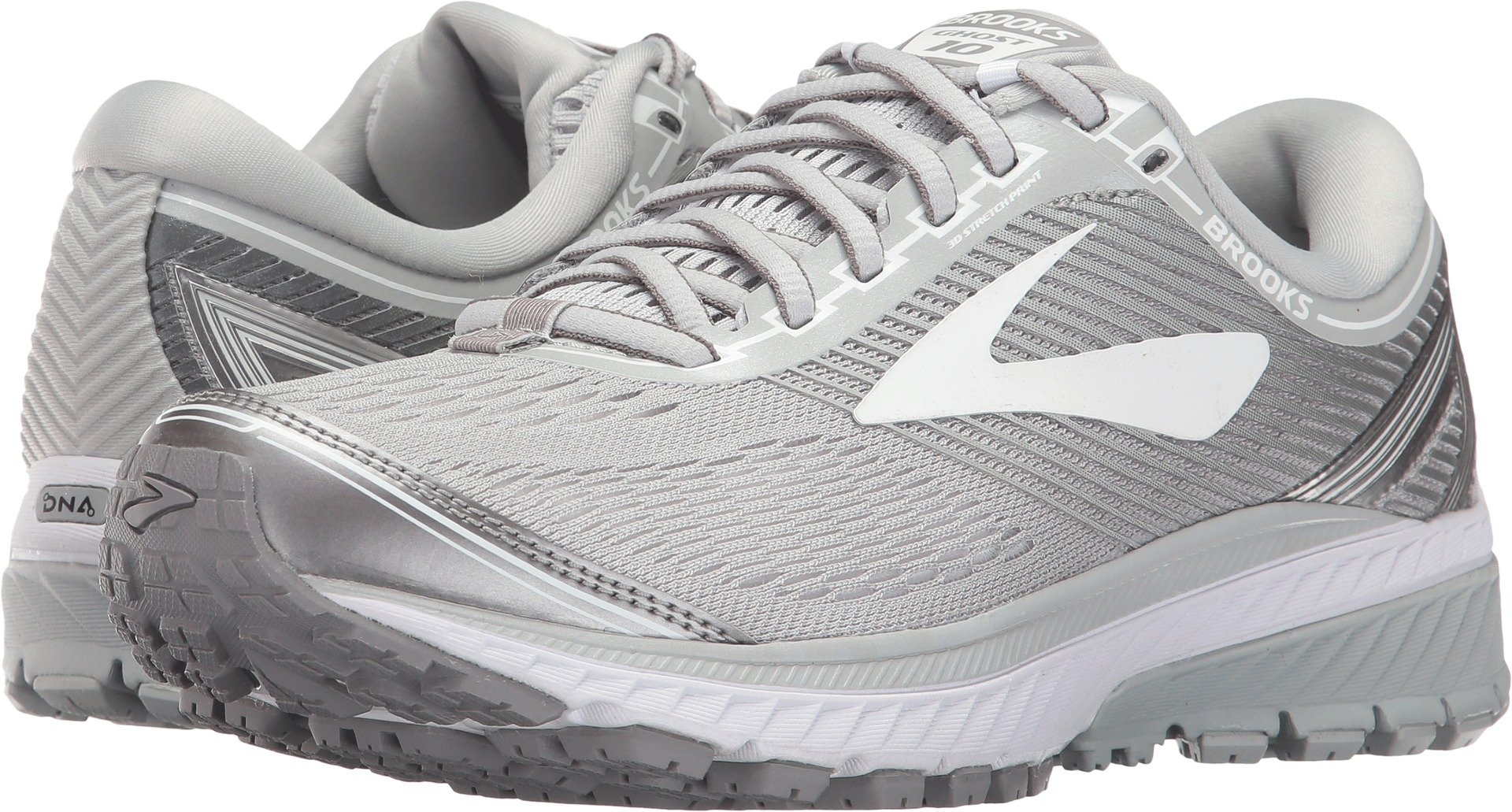 Brooks Women's Ghost 10 Microchip/White/Metallic Charcoal 10 B US