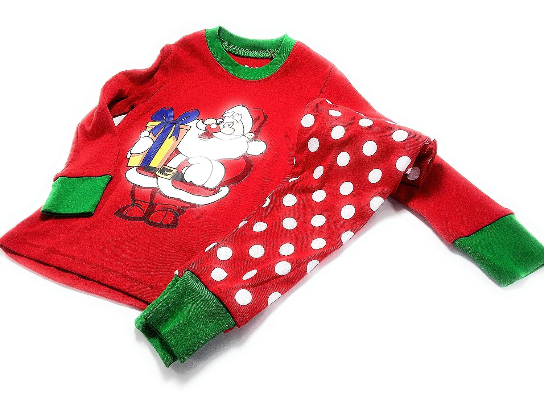 MekilyZ Santas Christmas Polka Dot Toddlers Pajama Set