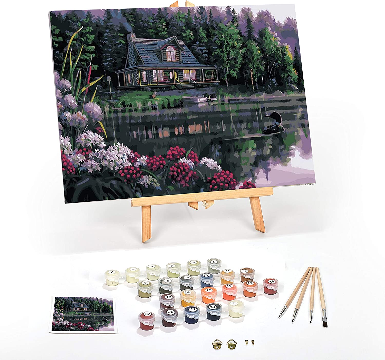 WJGJ Paint by Number Kits London Street With Wooden Stick DIY Oil Painting Works for Adults Kids Beginner