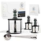 Tea Ball Infuser Set with 1 Multi-Cup Large Steeper, 2 Single-Cup Infusers for Loose Leaf, Stainless Steel, Fine Mesh…