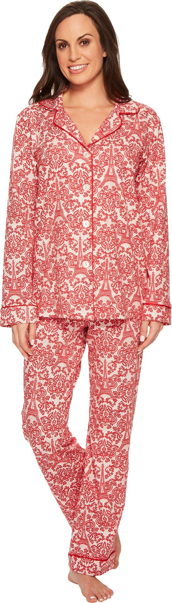 BedHead Women's Long Sleeve Classic Stretch Knit Pajama Set Rouge French Lace Medium by BedHead Pajamas (Image #1)