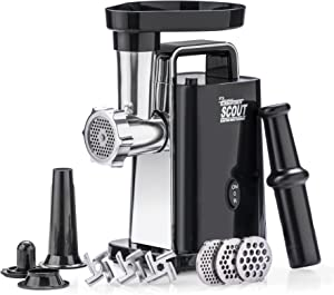 """STX Turboforce Scout Electric Meat Grinder & Sausage Stuffer - Grinds 60 Lbs Plus Per Hour - 3 Grinding Plates, 3 S/S Blades, Sausage Stuffing Tube & Kubbe Maker - """"The Compact Titan of Meat Grinders""""!"""