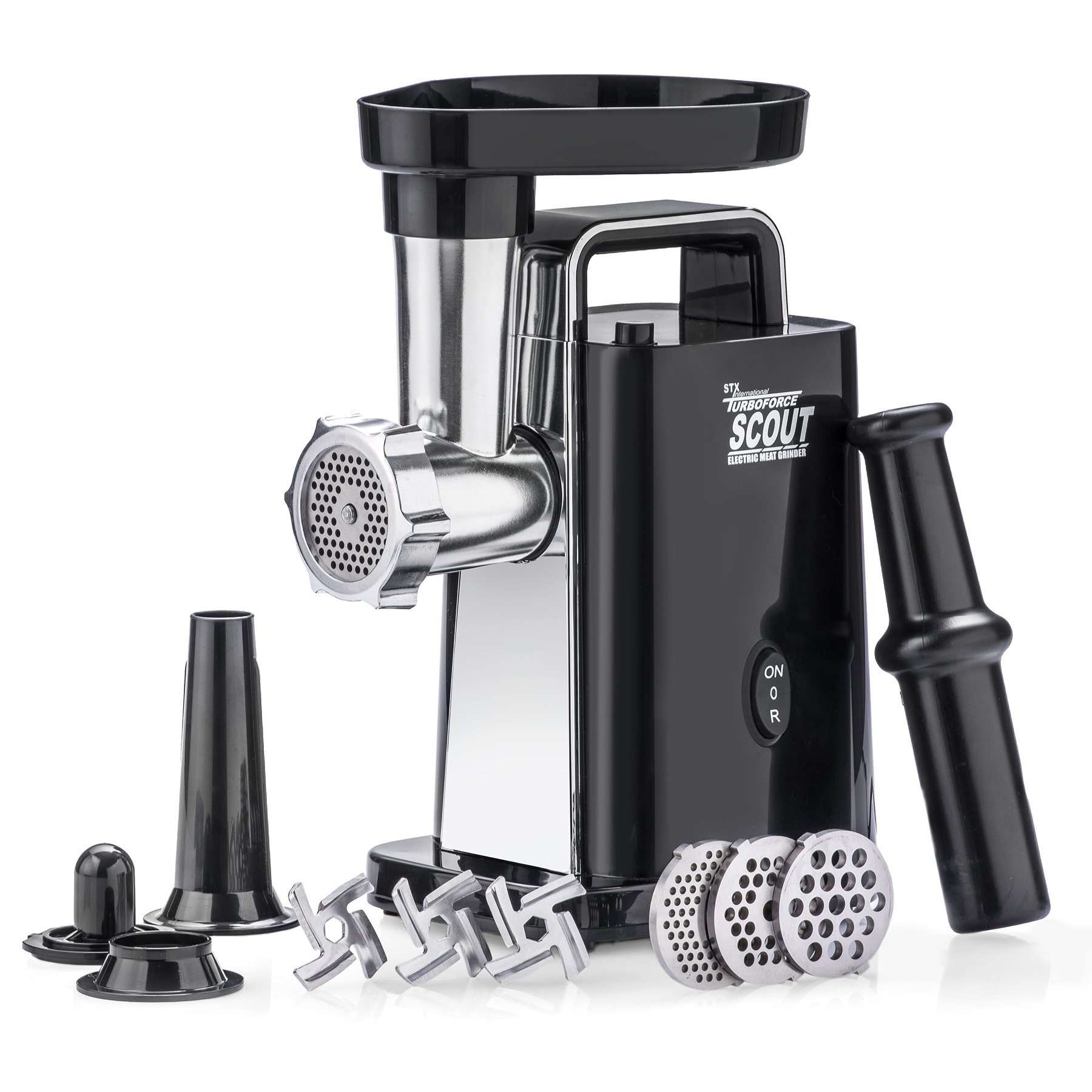Electric Meat Grinder – Size #5 – Model STX-1000-TS - STX International Turboforce Scout – Handle – 3 Grinding Plates – 3 Stainless Steel Cutting Blades – Kubbe & Sausage Stuffing Attachment