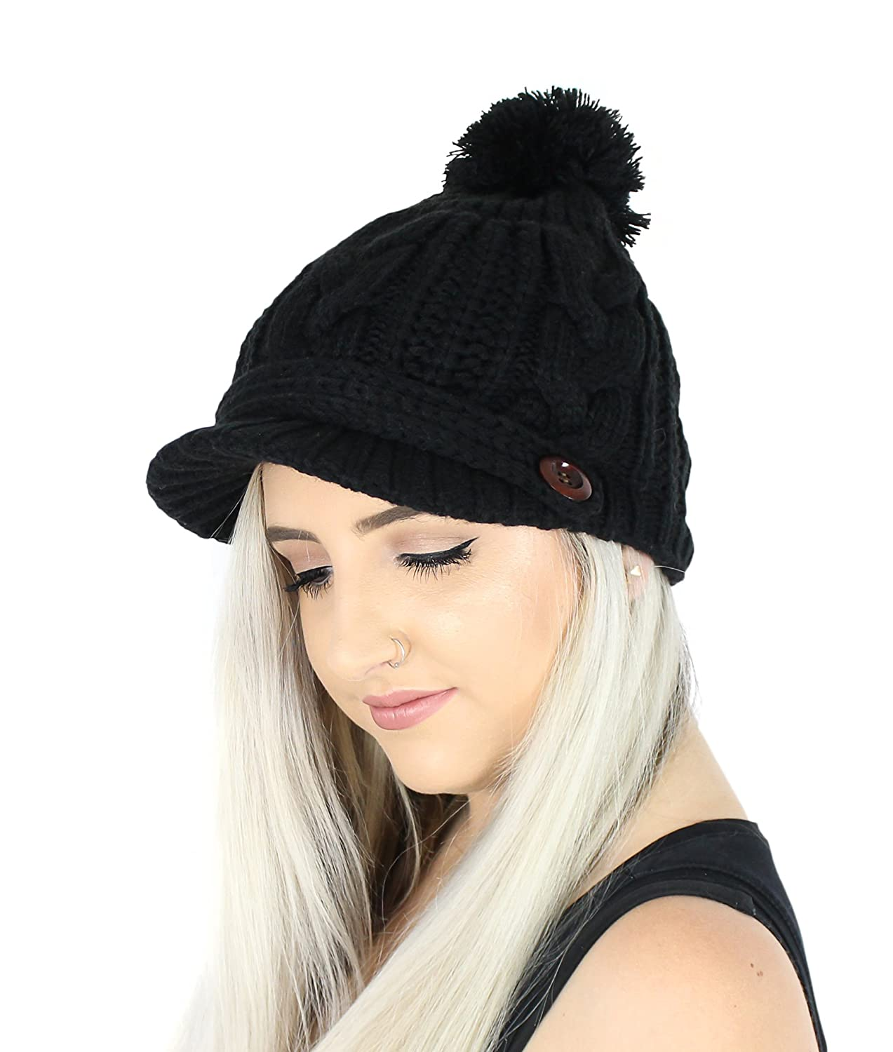 330f914f4a69e7 Black PomPom Cable Ribbed Knit Beanie Hat w/ Visor Brim - Winter Skully Cap  at Amazon Women's Clothing store: