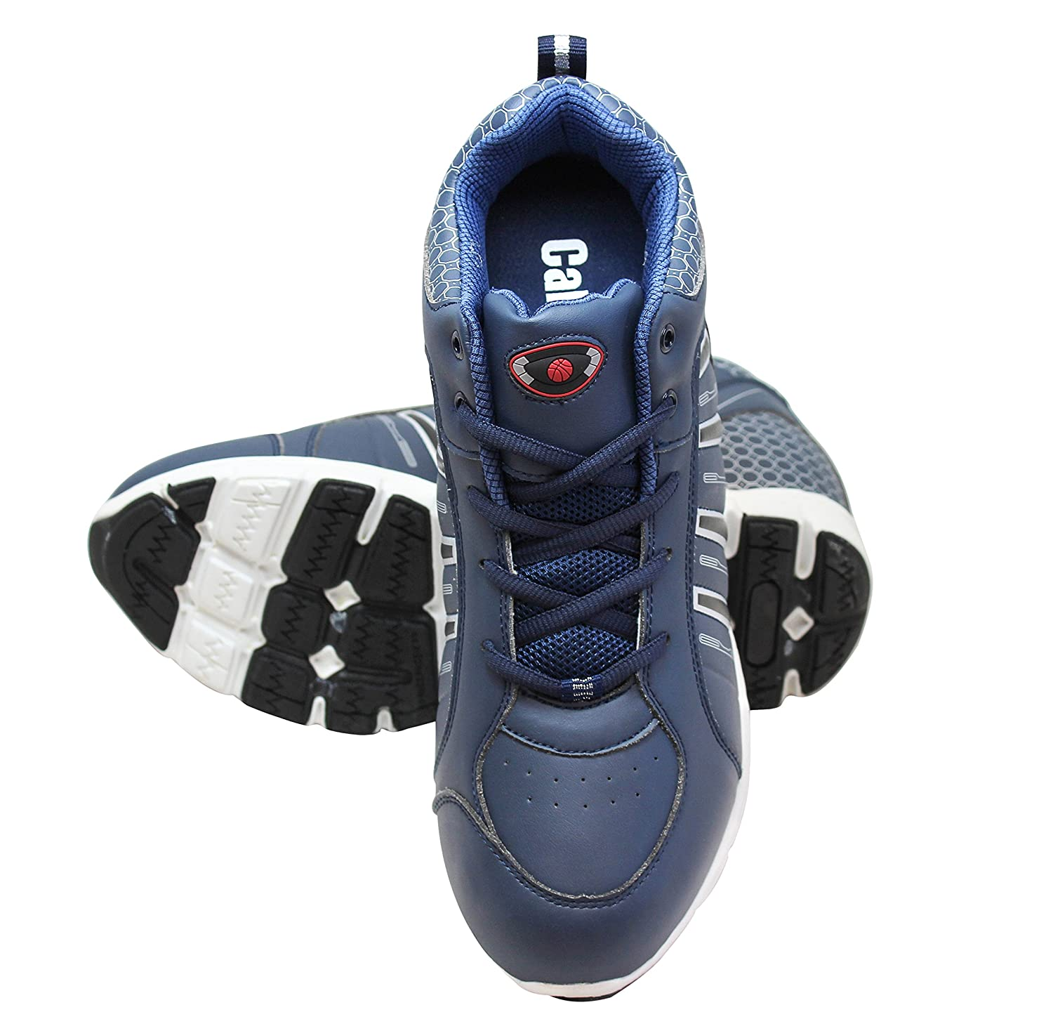 Calden Mens Invisible Height Increasing Elevator Shoes 4 Inches Taller Blue Leather Lace-up Lightweight Sport Sneakers K3333