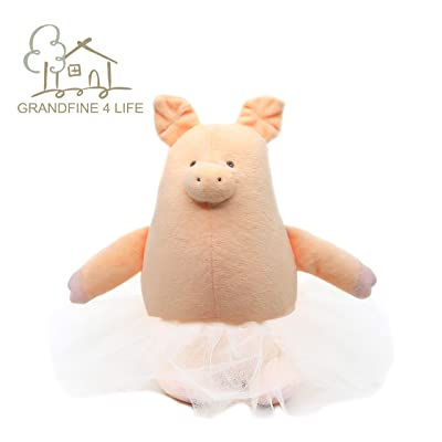 GRANDFINE Luxury Ballerina Pig Plush Stuffed Toys ,Kawaii Handmade Pink Princess Piggy Dolls,Lovely Fat Round Animal Baby Sleep Appease Toys ,Throw Pillow Doll 26cm: Toys & Games