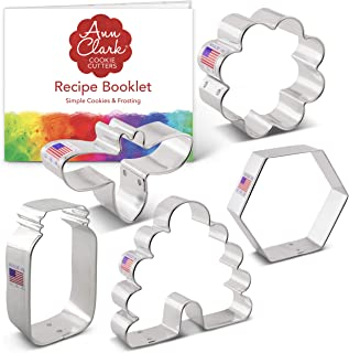 product image for Ann Clark Cookie Cutters 5-Piece Bee Cookie Cutter Set with Recipe Booklet, Bee, Beehive, Small Flower, Honeycomb and Honey Jar