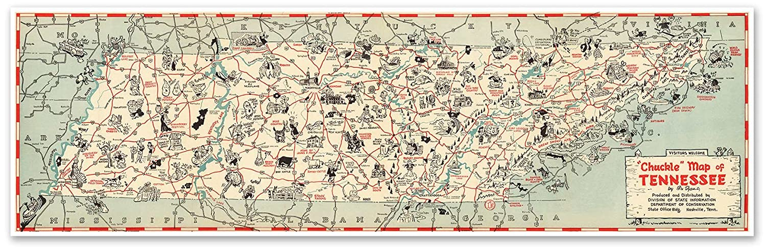 Amazon.com: Antiguos Maps Tennessee Chuckle Map Circa 1940 ...