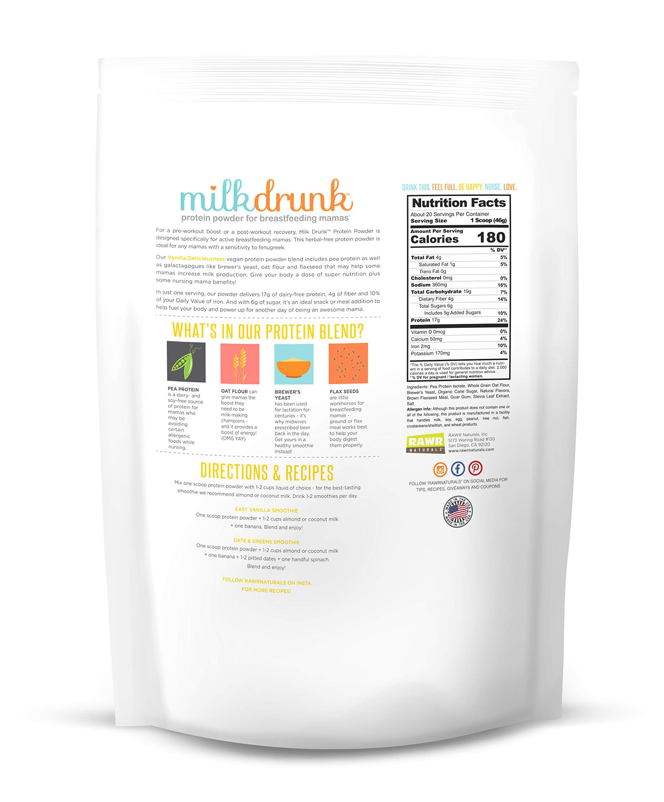 3 Bag Fenugreek-Free Variety Pack - Milk Drunk Protein Powder for Breastfeeding - 60 Servings Vegan Protein, Lactation-Boosting 17g Protein 4g Fiber 6g Sugar - Oat Flour, Flax, Brewer's Yeast by Milk Drunk (Image #5)