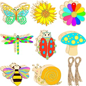 80 Pieces Unfinished Wooden Cutouts Butterfly Wood Slices Flower Unfinished Wood Cutouts Blank Wooden Paint Crafts for Kids Painting, DIY Crafts Home Decoration Craft Project, 8 Styles