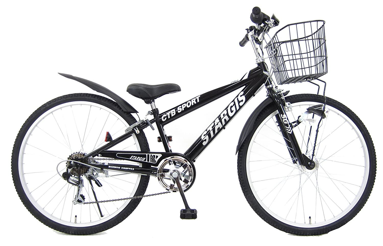 24インチ スタージス 6段変速 LEDオートライト 組み立て式自転車 B07BWPBHCPブラック