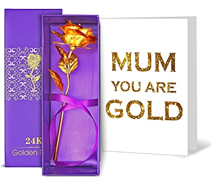 TIED RIBBONS Birthday Gifts For Mother 24K Gold Plated Rose With Greeting Card 9 Cm